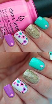 Cool summer nail art ideas - bright summer nails with floral accent - easy nail art and nail designs for spring and summer that are creative and cute. Beach Nail Designs, Flower Nail Designs, Flower Nail Art, Nail Designs Spring, Bright Summer Nails, Cute Summer Nails, Spring Nails, Nail Summer, Bright Nails
