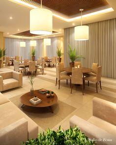 Perspectiva Ilustrada Salão de Festas Tom Jobim, Restaurant Interior Design, Drawing Room, Luxury Homes, Villa, Dining, Bedroom, Table, House