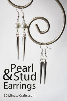 pearl and stud earring DIY