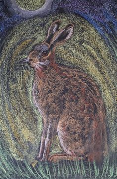 A Spring Hare - A blackboard drawing in my classroom at The Sheiling Ringwood - A Camphill Community comprising of a Lower School, Upper school and A College for children and adults with special educational needs.