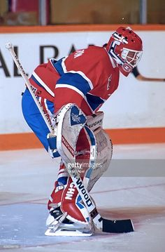 Roland Melanson of the Montreal Canadiens skates in warmup prior to a game against the Toronto Maple Leafs on December 1991 at Maple Leaf Gardens in Toronto, Ontario, Canada. Montreal Canadiens, Hockey Goalie, Ice Hockey, Goalie Mask, The Ch, Toronto Maple Leafs, Nhl, Skates, Bowling