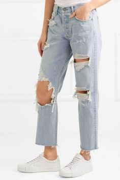 GRLFRND | Helena distressed high-rise straight-leg jeans | NET-A-PORTER.COM