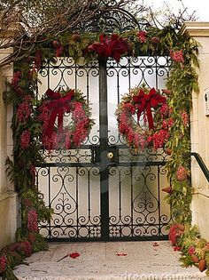 gate with christmas decorations stock photo image of door vines 7552470 - Christmas Gate Decoration Ideas