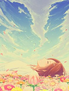Falling asleep on flowers
