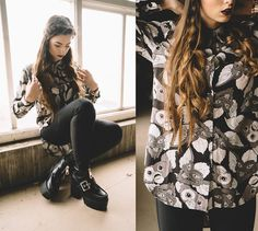Stacey Gray Macdonald - Drop Dead After Midnight Shirt, H&M High Waisted Trousers, Public Desire Sharnie Black Boots - After Midnight.