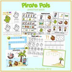 Pirate Pals preschool pack from LittleMonkeyPrintables on TeachersNotebook.com (34 pages)
