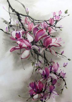 Ella Saridi - Magnolia Japanese ink painting Suibokuga Sumie  by Suibokuga