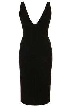 **Black Plunge Ribbed Bodycon Dress by Rare