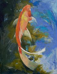 Coy Fish - Michael Creese Paintings - Featured Images - Butterfly Koi Painting  by Michael Creese