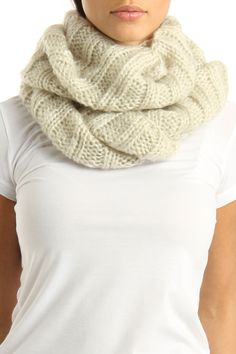 B Couture Knitted Solid Snood Scarf In Sand