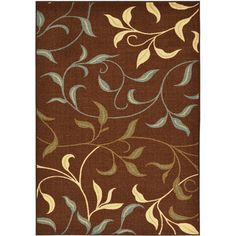 ottomanson ottohome collection sage green aqua blue leaves design modern nonskid area rug