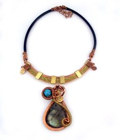 "Wire Wrap Necklace ""Shira."" Mixed metal copper and bronze hammered twice-wrapped natural Labradorite pendant with a leather band."