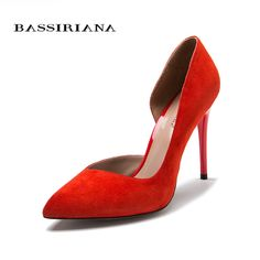 dae6bcd24223 High heels pumps Natural suede leather New spring summer 2017 Red Black Fa.  fashionsadmire · SHOES