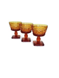 Vintage amber glass sorbet dishes by Acrossthegap on Etsy, $12.00