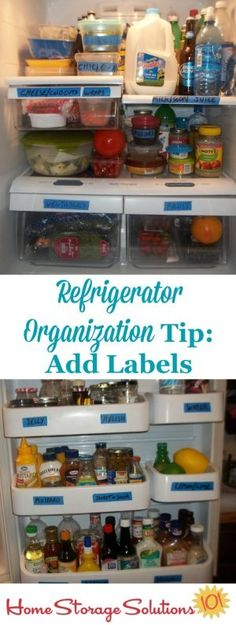 Add labels to your refrigerator shelves and door to help everyone know where to place items within your fridge to keep up the organizational method you've chosen {featured on Home Storage Solutions 101}