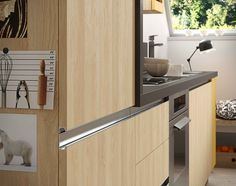 Simple and ironic: Up proposed in Nature oak with a colour touch of Sahara yellow #kitchen #home #house #inspiration #design #industrial #urban #interior #architecture #cucina #cocina #cuisine #colour #apartment #flat