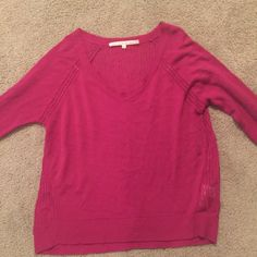 Magenta lightweight sweater . Size Small Rachel Roy magenta sweater . Ribbed detail in back and around the arm . Size Small Rachel Roy Sweaters Crew & Scoop Necks