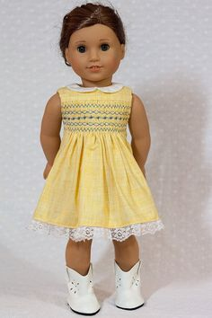Yellow smocked sleeveless dress by OriginalsByGaby on Etsy. Made with the Smocked Dress pattern, found here http://www.pixiefaire.com/collections/originals-by-gaby/products/smocked-dress-18-doll-clothes. #pixiefaire #smockeddress