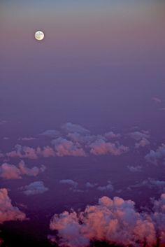 scenery, skies, evening, moons, clouds, pink, purple