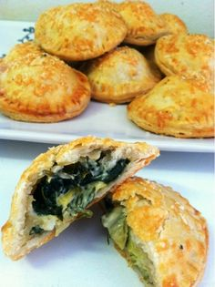 Clean, utensil-free food. Chelan's fabulous fruit desserts or savory like this  Artichoke Spinach Hand Pies | Caroline's Edible Creations