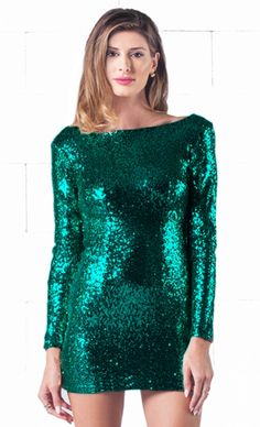 Indie XO Sparkling Night Green Sequin Long Sleeve Open Draped Backless Bodycon Dress - Just Ours!