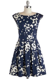 Fluttering Romance Dress in Butterflies by Closet - Mid-length, Blue, White, Print with Animals, Pleats, Pockets, Cap Sleeves, Better, Exposed zipper, Daytime Party, Fit & Flare, Variation