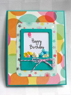 My Craft Spot: DT Post by Ally - Birthday Shaker card! Bday Cards, Happy Birthday Cards, Homemade Birthday Cards, Homemade Cards, Window Cards, Interactive Cards, Cricut Cards, Shaker Cards, Card Tags