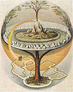 Yggdrasil - World Tree - Tree of Life. Yggdrasil is a gigantic tree, thought to connect all the nine worlds of Norse cosmology. It is often suggested to be an ash tree, an interpretation generally accepted in the modern Scandinavian mind. Norse Legend, Asgard, Creation Myth, Arte Tribal, Norse Mythology, German Mythology, Anglo Saxon, Flower Of Life, Gods And Goddesses