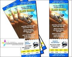 Dirtbike Race Blue Ticket Invitations by PrintVillaInvites on Etsy