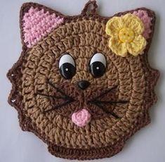 Crochet dishcloth scrubbie pot holders 38 ideas for 2019 Crochet Gifts, Crochet Toys, Crochet Baby, Crochet Applique Patterns Free, Crochet Motif, Cat Applique, Chat Crochet, Crochet Geek, Crochet Potholders