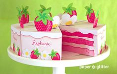 Strawberry Shortcake Paper Cake Slice in PINKS by paperglitter