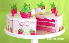 Strawberry Shortcake Paper Cake Slice in PINKS favor baking party box printables - Editable Text Printable PDF 1053 via Etsy