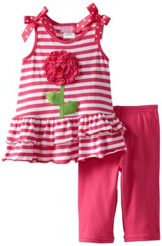 Amazon.com: Good Lad Baby-Girls Infant Knit Stripe Legging Set with Big Flower Applique: Infant And Toddler Pants Clothing Sets: Clothing