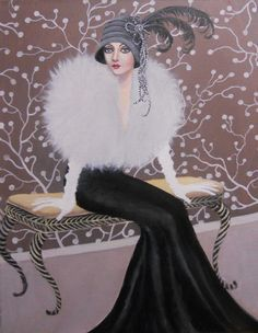 Original acrylic art deco figure painting by Dian.A very elegant and feminine lady of the art deco era seated on a bench. An item that would enhance any part of your home. Perfect for contemporary decor. Also a great gift for vintage lovers. Art Deco Illustration, Illustrations Vintage, Vintage Images, Vintage Art, Vintage Ladies, Vintage Paintings, Art Deco Paintings, Vintage Stuff, Vintage Dolls