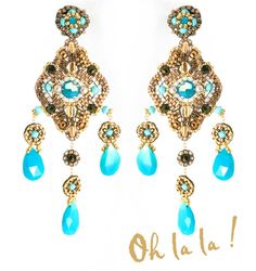 Turquoise Swarovski and Gold Fill Statement by OhlalaJewelry, $150.00