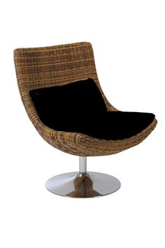 Euro Style Fenia Swivel Chair in Triple Brown Rattan/Chrome