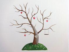 Wedding tree II Wedding gift Guestbook Fingerprint by JulsiArt