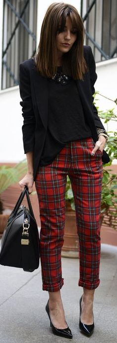 black blazer, plaid pants