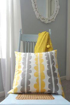Grey & Yellow & White Throw Pillow