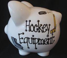 Need for my baby boy hehehehehe Hockey Piggy Bank Baby Boy Hockey, Hockey Nursery, Hockey Bedroom, Hockey Mom, Field Hockey, Hockey Stuff, Hockey Girls, Hockey Crafts, Hockey Decor