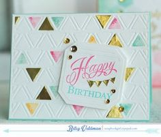 Happy Birthday Triangles Card by Betsy Veldman for Papertrey Ink (March Birthday Card Design, Birthday Cards, Happy Birthday, Shabby Chic Cards, Card Making Inspiration, Card Tutorials, Scrapbook Cards, Scrapbooking, Card Tags