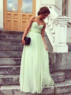 A-line Sweetheart Floor-length Chiffon Prom Dress at Millybridal.com