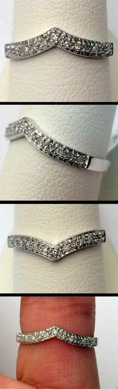 10kt White Gold Pave Diamond Solitaire Wrap Ring Enhancer Curve Contour Chevron Band (0.10ctw)...(RG331416950376).! Price: $179.99 #gold #diamonds #ringguard #wrap #enhancer #fashion #jewelry #love #gift