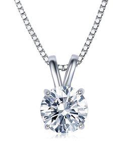 """2 Carat Round Cut Clear Cubic Zirconia CZ Solitaire Pendant Necklace for Women 18"""" (16""""+2"""" Ext.)"""