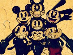 Art by Random Me Forever  bored, so why not make a Picture with all the toons we know already *Bendy and the Ink Machine *CupHead *Oswald the Lucky Rabbit *Mickey Mouse *Felix The Cat Credit ther owners to make them...