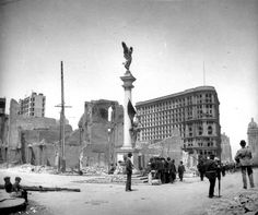 1906 Earthquake photo from the San Francisco Chronicle archive. Photographer unknown. Union Square, looking at the Flood Building with Powell Street in the background. Photo: Chronicle Archives