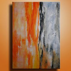 Original Abstract Painting on Canvas  Contemporary Modern Art Orange Gray painting  Wall Hanging wall decor on Etsy, $199.00