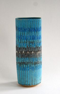 Ceramics by Sarah Perry at Studiopottery.co.uk - 2013. Blue striped oval