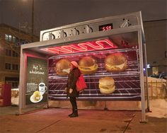 Creative and cool bus stop advertising by various companies from all over the world. Caribou Coffee Bus Stop Ad: Ovens were created out of. Creative Advertising, Bus Stop Advertising, Guerrilla Advertising, Advertising Campaign, Advertising Design, Marketing And Advertising, Advertising Ideas, Coffee Advertising, Email Marketing