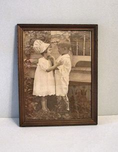 Vintage frame photo  Boy and Girl  Adorable OOAK  by wonderdiva, $65.00
